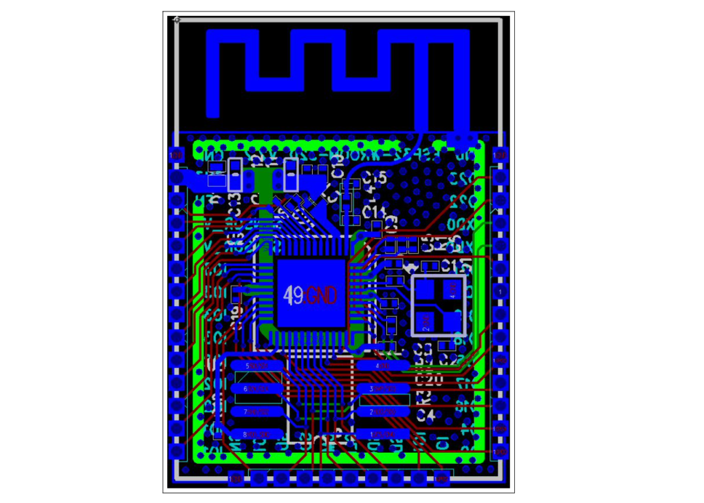 Návrh DPS modulu ESP32 Wroom