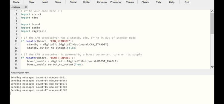 Programování CircuitPythonem v MU editoru