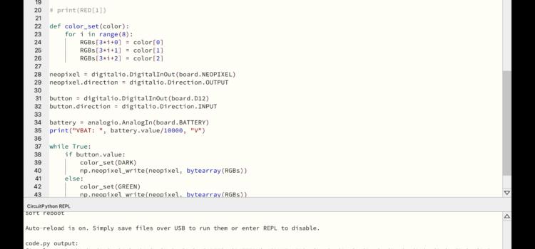 Fragment kódu programu v CircuitPythonu
