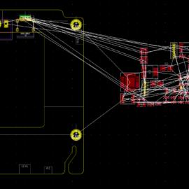 Nakreslený tvar DPS a importované součástky
